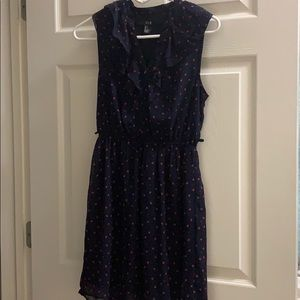 Navy Blue Dress with Red Hearts